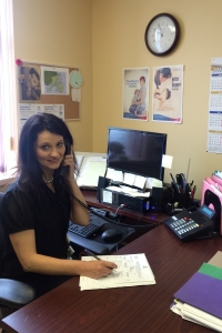 "Lisa Pittman, Regional Lactation Consultant with Eastern Health (on the phone, getting ""the call."")"