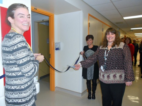 Ribbon Cutting Ceremony to celebrate the official opening of the Sunshine Supportive Care Rooms at the Dr. G. B. Cross Memorial Hospital in Clarenville. (l-r) Collette Smith, Interim Vice President of Clinical Services; Kelli Davis, manager of the medicine/surgery, ambulatory care and chemotherapy program; Marilyn MacKeigan, senior site manager