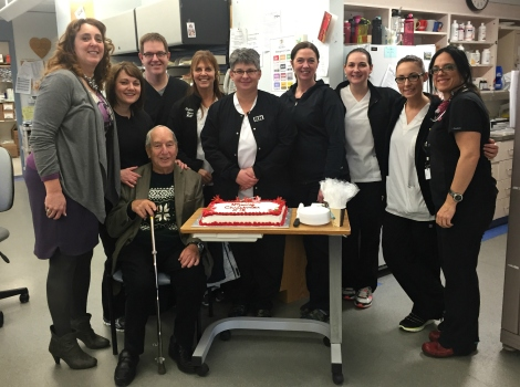 Mr. Strong enjoying his annual visit with staff from the CVICU at the Health Sciences Centre