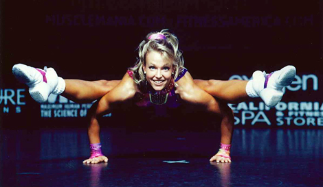 Melanie Hiscock in Canadian National Fitness Competition performing her signature move: 'No leg push-up,' 2001. Photo by Yves Desbiens.
