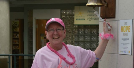 Cancer patient, Beverly Kelly, rings the bell 'in the pink.'