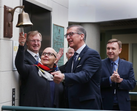 Cancer patient Nikki Parrell rings the first Bell of Hope at the Dr. H. Bliss Murphy Cancer Centre