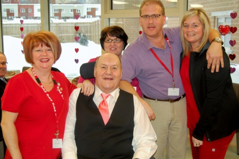 Eastern Health staff (l-r): Michelle Mulley, Shirley Power, Robert Neary and Jennifer Swain celebrate with Austin.
