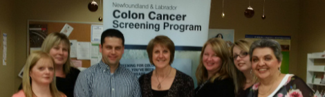 Staff of the Colon Cancer Screening Program: (l-r) Darlene White, Sonya Thompson, Scott Antle, Sandy Stone, Tanya (Skinner) Collins, Chantelle Siavoshi, Ruth Bishop.