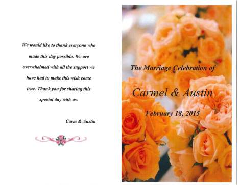 Austin and Carm's wedding program.