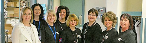 March 10 was World Kidney Day and at Carbonear General Hospital it was a big day for the people involved with the dialysis unit. Through the Trinity Conception Placentia Health Foundation, the unit received a portable ultrasound machine. Shown here are, from left, Helen Clarke, Renee Hawe, Nancy Parsons, Jill Gosse, Deanne Squires, Janet Templeton, Lisa Clarke and Roxanne Noseworthy.