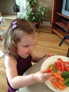 Child enjoying vegetables