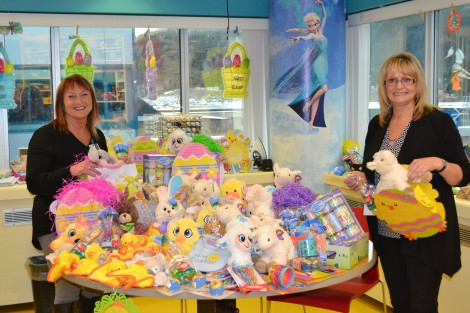 Staff of the Child Life Department get ready to make Easter Bags. (l-r) Recreation therapy workers Karen Kean and Florence Williams showing off the Easter loot!