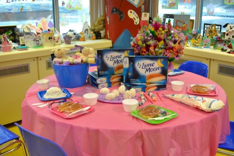 The Easter Bunny cake-making table at the Janeway's Health and Rehabilitation Centre