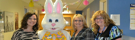 (l-r) Recreation therapy workers Trixie Mahoney, Florence Williams and Lisa Lane posing with the Easter Bunny at the Janeway Children's Health and Rehabilitation Centre