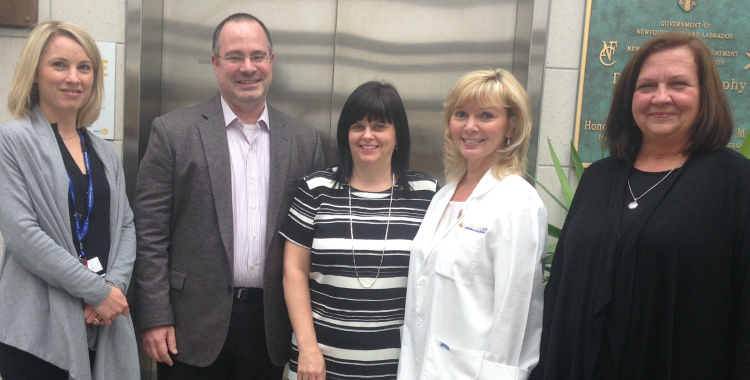The clinical trials team. (l-r): Elysia Desai, Dr. Craig Pochini, Lorilee Noel, Gail House and Elizabeth (Liz) Fuller