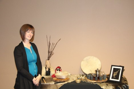 Danielle Sullivan with a display used in cultural safety training sessions