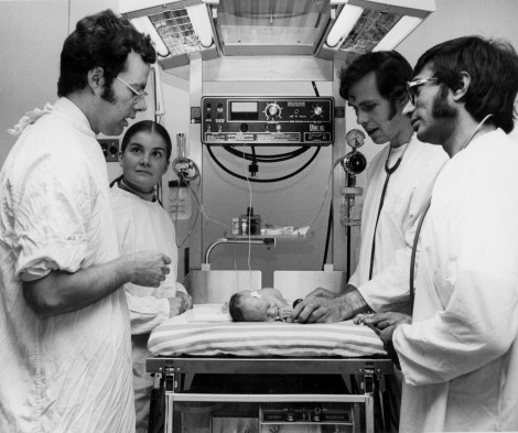 Front, left: Dr. Rick Cooper teaching neonatal medicine in his younger years. Source: Memorial University Gazette, Sept. 17, 1976
