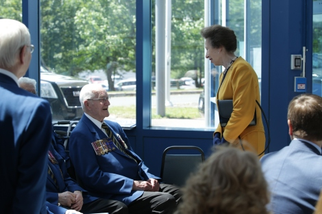 94-year old Royal Navy veteran Charles Starkes shares a laugh with Princess Anne.