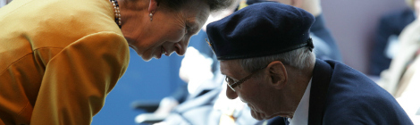 Princess Anne and veteran Gordon Young share a special moment at the Caribou Memorial Veterans Pavilion.