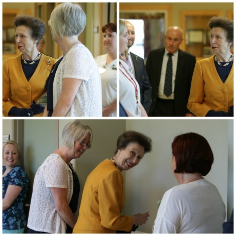 Princess Anne chats with staff at the Caribou Memorial Veterans Pavilion in St. John's.