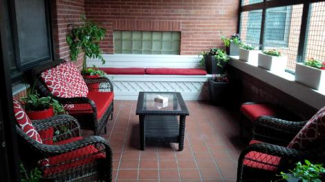 Newly-renovated balcony at the Waterford Hospital – courtesy of employees and the Health Care Foundation.