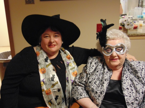 (l-r) Joan Marie Jones, daughter of resident, Rita Stapleton, showing their Halloween spirit