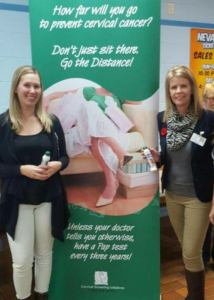 (l-r) Kayla Boland, program assistant and Susan White, regional coordinator with the Cervical Screening Initiatives Program visit the Kenmount Bingo Corporation (2015)