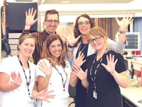 Back row, (l-r): Dr. Greg Manning, Intensivist; Sharon Gregory, Division Manager (CVICU and CCU). Front row (l-r): Amanda White, RN (CCU); Kara Noseworthy, RN (CCU); Danielle Dinn, RN (CCU)