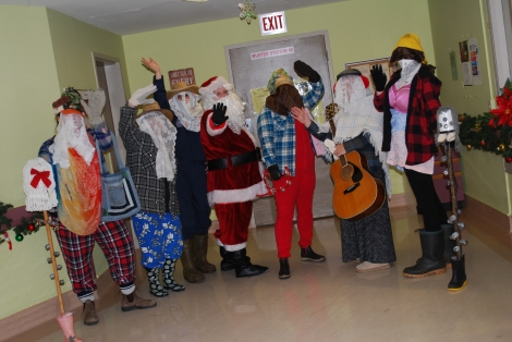 Members of the therapeutic recreation staff drop in to Unit N3A at the Waterford Hospital