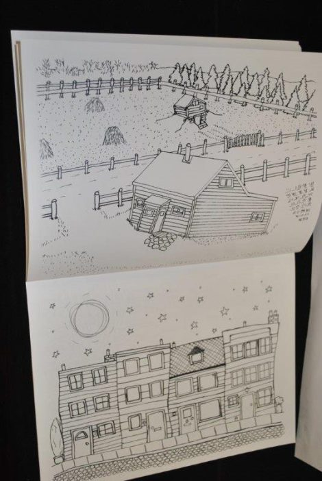 A peek inside To Calm Me Nerves colouring book by the Open Windows Studio art program