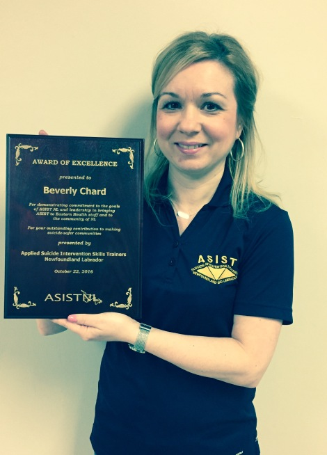 Beverly Chard, with her ASIST Trainer Award of Excellence