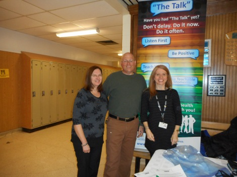 (l-r) Ramona Shortall and Mark Shortall, teachers at Ascension Collegiate, with Jill Rees, community health nurse