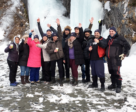 Members of the Carbonear General Hospital (GGH)'s emergency department who took part in the polar dip (l-r): Juanita Button, Susan Baggs, Susan Snelgrove, Pam Andrews, Brad Hunt, Ken McCarthy, Dr. Chris Patey, Nicole Pitcher, Phillip Holloway, Hasan Al-Obaidi, Shannon Chafe, and Paul Norman