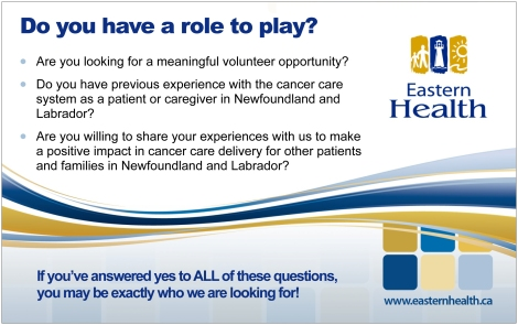 Volunteer as a family and patient advisor by visiting www.easternhealth.ca/CFCC