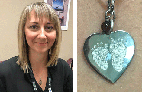 Crystal Northcott, regional program consultant (RN) at the Janeway Children's Health and Rehabilitation Centre, wearing a necklace engraved with Caleb's footprints to keep him close.
