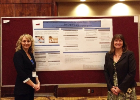 Crystal Northcott (left), and supervisors and contributors Dr. Cynthia Murray (right) and Dr. Lan Gien (not pictured) presenting research findings at the PriFor conference in June 2014.