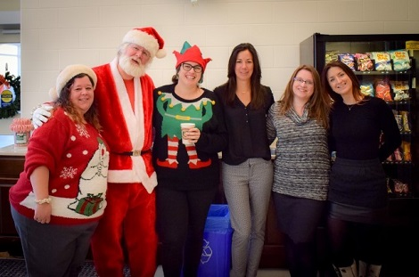 Health Care Foundation staff at Pleasant View Tower's Breakfast with Santa (l-r): Gennette Miller; Santa; Jackie O'Brien; Shelley Moores; Darlene Goodyear; Leslie Smith.