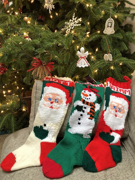 Hand-made stockings and ornaments from Newfoundland on display at my sister's house in Montreal, QC