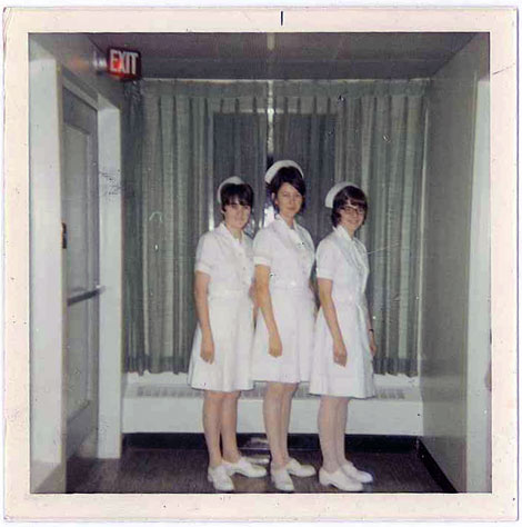Paula with two of her friends in 1970 in their nursing uniforms. (l-r): Barbara (Sampson) Dyke, Cynthia (Baikie) Hodgins and Paula (Baker) Fifield.