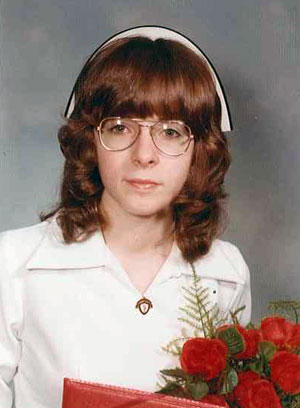 Paula's graduation photo from 1973.