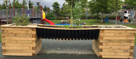 Children maintain and harvest crops using the accessible therapeutic garden bed and flower bed/pots