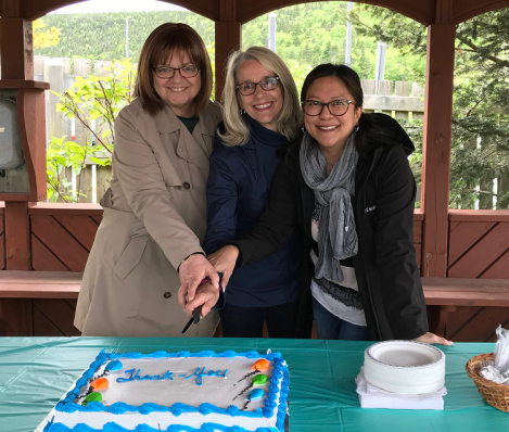 Cake-cutting at the Janeway Play Garden re-opening ceremony. (l-r): Ruth Squires, Janeway Foundation; Airdrie Miller, recreation specialist, Eastern Health; Phyllis Kinsman, Janeway Foundation.