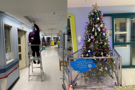 Heather Bishop, recreation specialist, decks the halls at the Janeway!