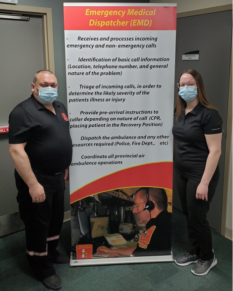 Medical Communication Officers Bradley and Alisha pictured here at the Medical Communications Centre.